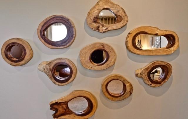 Petits miroirs cadre en bois, slow deco, deco naturelle, deco écologique