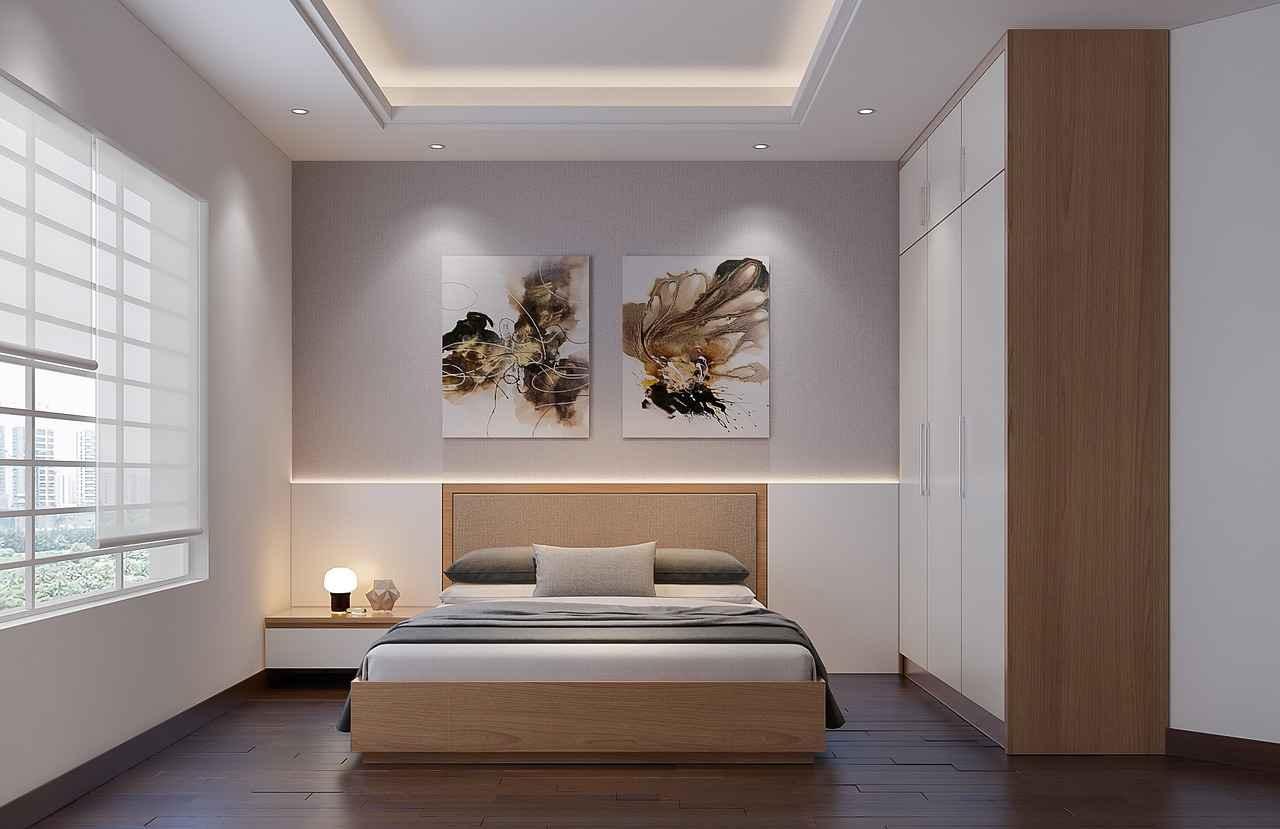 chambre minimaliste, lit king size, lumière tamisée, couleurs neutres, blanc, beige, taupe, parquet et meubles bois naturel,  slow design, slow deco, épurer, désencombrer sa maison, deco naturelle, deco écologique, ecoresponsable