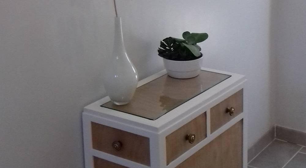 Meuble en bois rénové avec la peinture à la caséine, slow deco, décoration écologique, naturelle, écoresponsable, durable